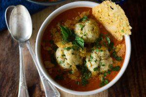 Roasted Tomato Soup with Ricotta Matzo Balls